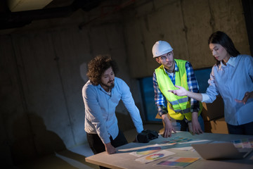 business people in group, architect and engineer on construction site