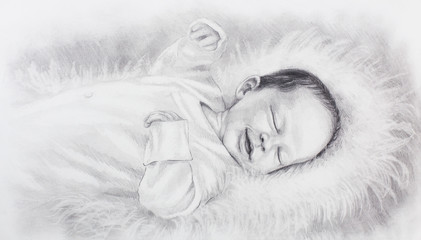 drawing of cute smiling newborn baby lying on white fur.