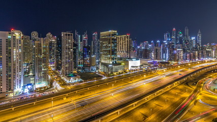 Fantastic rooftop skyline of Dubai marina timelapse.
