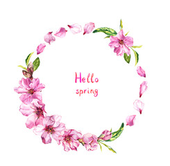Flowering cherry tree, sakura blossom, pink flowers petals. Floral wreath, text Hello spring . Watercolor round border