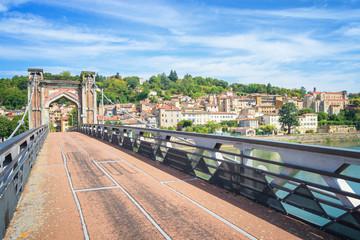 Fototapete - Pedestrian Bridge to Trevoux, France