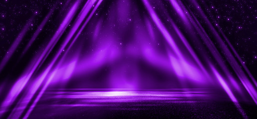 Wall Mural - Empty stage background in purple color, spotlights, neon rays. Abstract background of neon lines and rays.