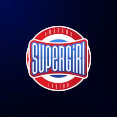Sport emblem typography. Super girl hero logotype sticker for your t-shirt, print, apparel