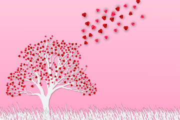 Origami Paper art of Cute couple hug each other on grass floor with heart tree, Love and Happy Valentine's Day
