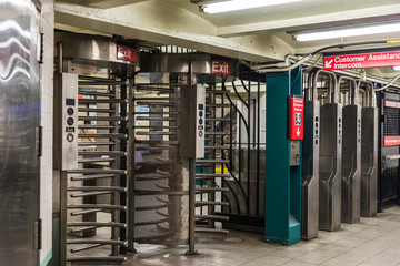 Automatic access control ticket barriers in subway station