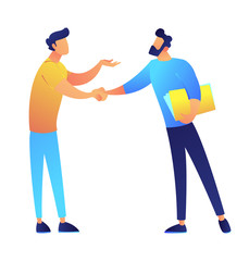 Two businessmen shaking hands after negotiation vector illustration. Business partnership and agreement, colleagues and cooperation, good deal and teamwork concept. Isolated on white background.