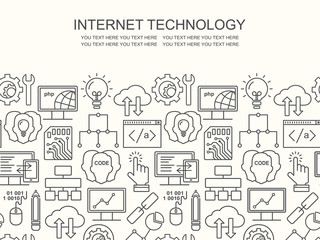 Internet technology and programming pattern with linear icons on white. Line style html, php and code background with place for text.