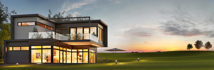 Evening view of a luxurious modern house