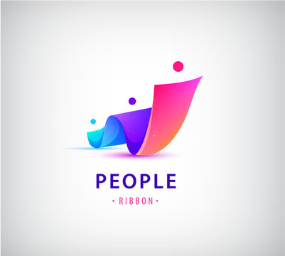 Vector human, people group logo. Family, business teamwork, friendship concept. 3d origami, multicolor men logo