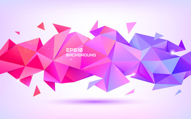 Vector abstract geometric low poly 3d shape. Origami facet style banner, background. Purple and red triangles poster, horizontal