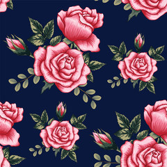 Seamless pattern beautiful pink Rose flowers on dark blue color background.Vector illustration hand drawing.