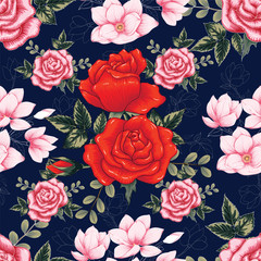 Seamless pattern beautiful pink-red Rose and Magnolia flowers on dark blue color background.Vector illustration hand drawing line art.