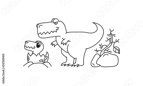 Cartoon Mother And Baby Dinosaur T Rex Hand Drawn Outline Logo Or