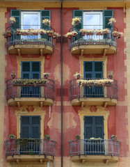 Colorful, ornately painted buildings in Santa Margherita Ligure, Italy