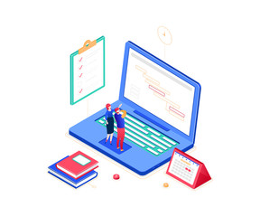 Task management - modern colorful isometric vector illustration