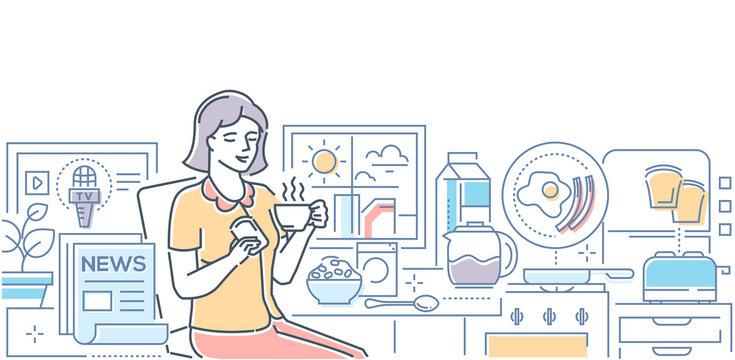 Good morning - modern line design style illustration