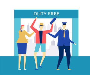 Duty free at the airport - flat design style colorful illustration