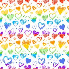 Seamless pattern with Valentine grunge hearts