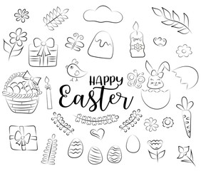 Easter set of icons and objects. Hand drawn doodle cartoon style spring holiday design concept. Black and white outline coloring page kids game. Monochrome line art. Vector illustration.