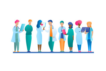 Illustration Group Doctor Talking Stands in Row