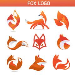 creative fox Animal Modern Simple Design Concept logo set
