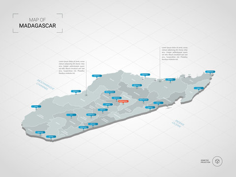 Isometric  3D Madagascar map. Stylized vector map illustration with cities, borders, capital, administrative divisions and pointer marks; gradient background with grid.