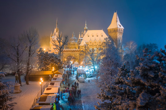 Budapest, Hungary - Christmas market in snowy City Park (Varosliget) from above at night with snowy trees and Vajdahunyad castle at background