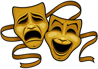 Gold Comedy And Tragedy Theater Masks Fototapete