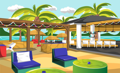 Beach Outdoor Cafe Hawaiian Style with Peanuts Tree, Ceiling Lamps, Drink Bars, Beach Chair, Green Table for Vector Cafe Design Ideas