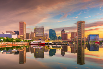 Baltimore, Maryland, USA Skyline on the Inner Harbor at dawn.