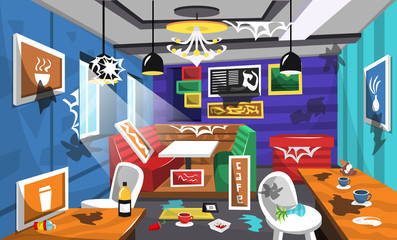 Dirty Cafe Interior Ideas with Food Chair and Table, Cup Coffee, Ceiling Lamps, Artistic Picture, Colorful Wallpaper for Vector Room Ideas