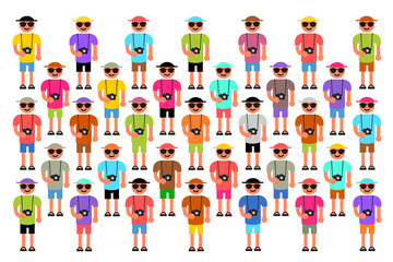 Mass tourism - large group of visitor, holiday maker, tripper and tourist is doing sightseeing  on touristic place. Holiday maker wear colorful bright clotthes and camera. Vector illustration