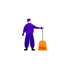 Worker holding modern spade