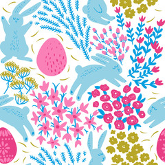 Cute seamless botanical fabric pattern with Easter bunny and forest flowers. Childish vector illustration.