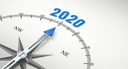 Pfeil von einem Kompass zeigt auf Jahr 2020