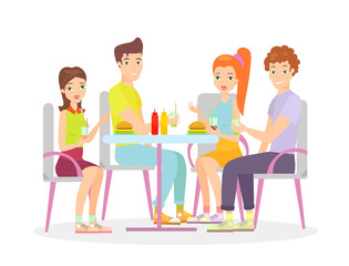 Vector illustration of happy friends are sitting at a table and have meal together. Happy young women and men friends talking and smiling in flat cartoon style.