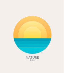 Nature logo, emblem or sticker. Simple landscape with sun and sea.Concept for summer, holidays, travelling.Template label for tour agencies advertise. Vector illustration of sunset or sunrise.