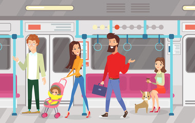 Vector illustration of people in subway underground train. Interior of subway with commuting passengers, sitting and talking women, standing woman and man with kid in cartoon flat style.