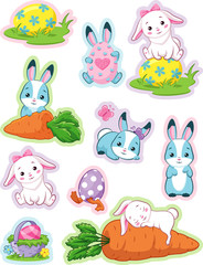 Easter stickers with bunny