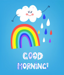 Rainbow good morning card with happy smile. Vector graphic illustration
