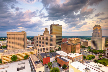 Winston-Salem, North Carolina, USA skyline from above