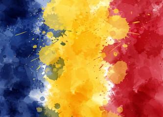 Grunge Romania watercolor flag