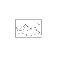Landscape photo image or picture placeholder. flat vector icon