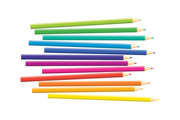 Set of isolated colored pencils on white background. Rainbow colors. Yellow, orange, blue, green, pink, purple, red.
