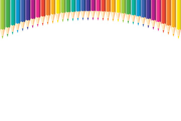 Horizontal pattern. Set of isolated colored pencils arranged arc from above of page with copy space for note, text, on white background. Rainbow colors. Bright print.