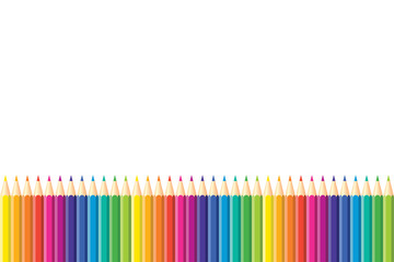 Seamless horizontal pattern. Set of isolated colored pencils arranged in a row with copy space for note, text, on white background. Rainbow colors. Bright print.