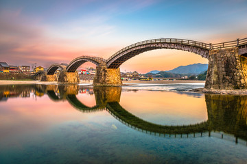 Iwakuni, Japan at Kintaikyo Bridge over the Nishiki River a