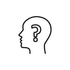 Black isolated outline icon of head of man and question mark on white background. Line icon of head of man and question mark. Symbol of idea, doubt. Flat design.