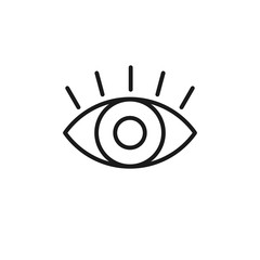 Black isolated outline icon of eye with eyelash on white background. Line Icon of open eye. Vision.