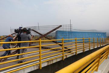 Container blocks vehicular traffic on the Tienditas cross-border bridge between Colombia and Venezuela, in Cucuta